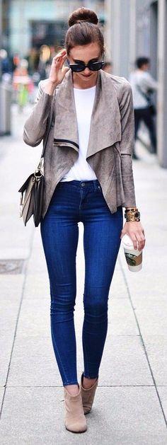 Love This Jacket Zara Shirt Acne Jeans Topshop Boots Asos Bag Chloe Fee Fee  C B Cute Date Outfits