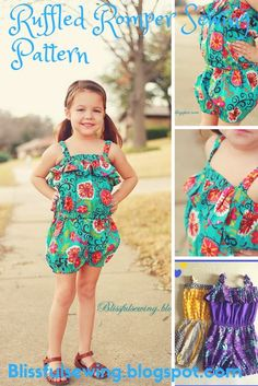 Ruffled Romper Sewing Pattern, 3 Months to 6 Years, Easy Romper Pattern. #ruffled #ruffled #romper #sewing #pattern #stitching #overalls #jumpsuit #bubble #kid #kids #children #girl #girls #toddler #baby #easy #infant #handmade #joanns