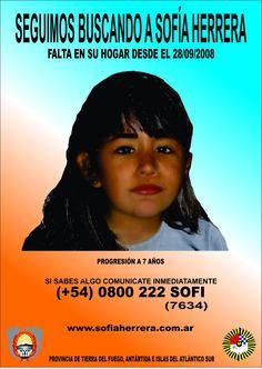 ESTA ES LA IMAGEN ACTUAL DE SOFÍA   Perdida en el año 2008,   cuando tenía 3 años.