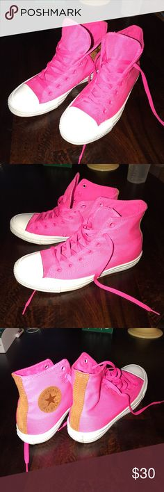 Converse Hot Pink Hightops W Size 8 BARELY worn..I am normally a 9 and these were an 8. Too small on my feet! Love the vibrant color though! Converse Shoes Sneakers