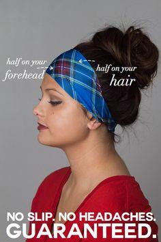 Yoga Headband Non slip Flannel Headband Plaid Grunge by MandaBees