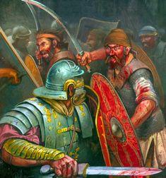 Melee battle between Roman legionaries and Dacian warriors- by Radu Oltean Roman History, European History, Art History, Ancient Rome, Ancient History, Illustrations, Illustration Art, Rome Art, Roman Armor