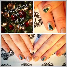 Christmas tree nails, shellac, nailart, freehand, beauty, love, sparkle, nottd
