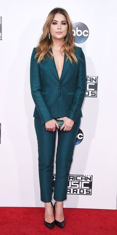 ASHLEY BENSON The Pretty Little Liars actress wore a peacock green suit. The Most Sizzling Looks at the 2015 American Music Awards - Ashley Benson - from InStyle.com