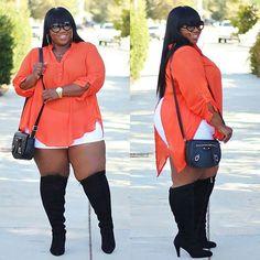 When you're still holding on to summer but Fall is right around the corner. Orange Creamsicle | Now on the blog! Top & Shorts @rainbowshops #plussizefashion #psfashion #fullfiguredfashion #bbw #bbwlove #whatiwore #rainbowshops #rainbowstyle #lanebryant #lanestyle #shoplacenleopard #flyfashiondoll #aboutalook #fashionforwardplus #hawt_fashions #bbbg #bgki #psblogger #lablogger #blackgirlswhoblog #lacenleopard #servingchocolate