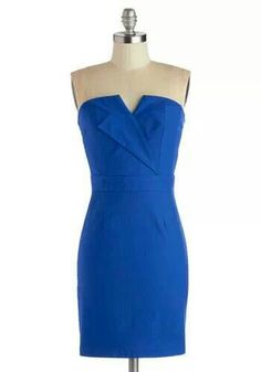 """I adore this dress because of the """"look at me"""" shade of blue! Shocking shades of blue look great on almost every skin tone and they show a bold sense of class, especially in this dress! I love the cut, and I love the shape of the dress as well. #modclothpinningparty"""