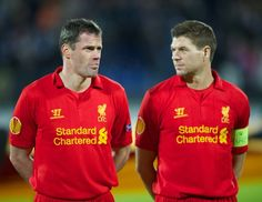 SAINT PETERSBURG, RUSSIA - Thursday, February 14, 2013: Liverpool's Jamie Carragher and captain Steven Gerrard before the UEFA Europa League Round of 32 1st Leg match against FC Zenit St Petersburg at the Stadio Petrovski. (Pic by David Rawcliffe/Propaganda)