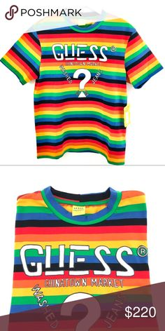 48aa82e51b9 Guess Jeans x Chinatown Market Rainbow T-shirt Guess Farmers Market x Chinatown  Market X Sean Wotherspoon Rainbow Stripe T shirt Guess Shirts Tees - Short  ...