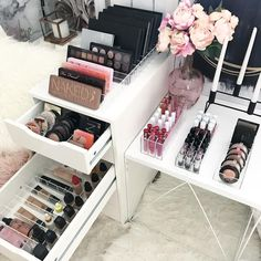 DELUXE VANITY PACK . One of our most versatile packs. . Includes 2 x VC Dividers - You choose your size and sets. 1 x VC Large compact holder 1 x VC Lipgloss holder 1 x VC Lipstick holder. . This pack suits. ➕ IKEA Alex 5 Drawer unit - select the larg