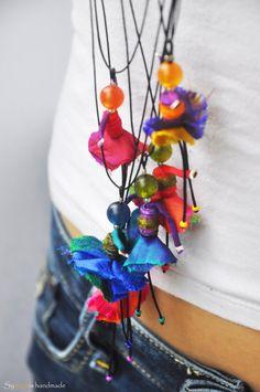 handmade silk dancer pendant  necklace in von synopsishandmades