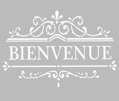 Ce pochoir adhésif repositionnable, de fabrication artisanale française dans une matière PVC grise souple, résistante et lavable, résiste à de multiples utilisations, s'adapte à la plupart des Adhesive Stencils, Stencil Decor, Chalk Paint Projects, Silhouette Portrait, Kirigami, Vintage Images, Paper Cutting, Messages, Templates