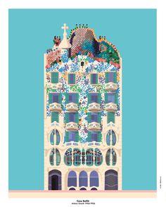 Illustration Casa Batlló Antoni Gaudi 1904/6 By PeBe