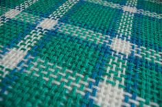 white turquoise green and pale blue plaid pattern, square pin loom