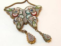 Vintage Micro Mosaic Butterfly Necklace