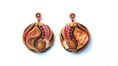 Sy in öronhängesbas till toppen. Beading4perfectionists: Shibori silk embroidery earrings part 3