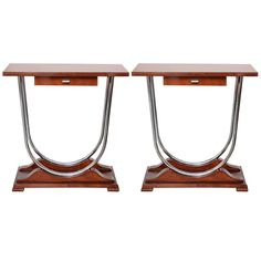 Pair of Machine Age Art Deco Console Tables with Double Chrome U-Support For Sale at 1stdibs