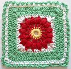 Poinsettia crochet dishcloth ~ free pattern
