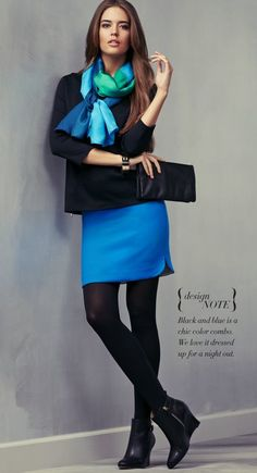 NIKKI NOTE: I love this bright blue skirt paired with a vibrant scarf. I would like the skirt to be a bit longer.