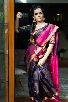 Buy Designer Blouses online, Custom Design Blouses, Ready Made Blouses, Saree Blouse patterns at our online shop House of Blouse from India. New Dress Design Indian, Indian Designer Wear, Saree With Belt, Designer Blouses Online, House Of Blouse, New Designer Dresses, Saree Blouse Patterns, Black Saree, Sarees Online