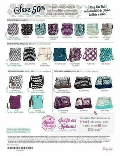 October specials 50% off Retro Metro collection with Purchase ♥ www.mythirtyone.com/girlslovebags