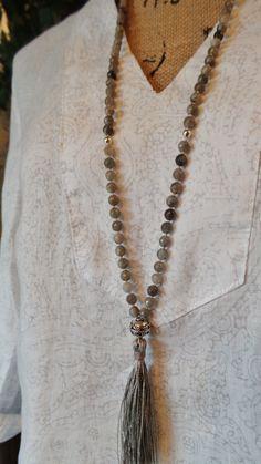 LABRADORITE Long Boho Mala Style Necklace / by BlueLotusDesignLLC