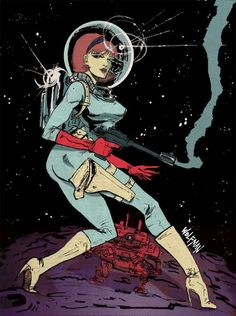 Space Girl by MC Wolfman, via Behance