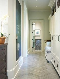 Mudroom lockers, chalkboard wall, herringbone floors - .