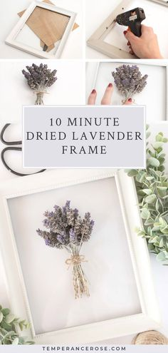 Make this DIY dried lavender frame in 10 minutes with this easy DIY home decor tutorial. A fun way t Lavender Decor, Lavender Walls, Lavender Flowers, Wall Art Crafts, Diy Wall Art, Diy Wall Decor, Boho Decor, Decor Crafts, Diy Décoration