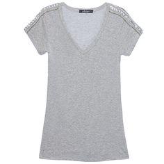 J. CHERMANN T-shirt manga bordada cinza Shirt Style, Ds, Blouses, Grey Blouse, Shoes, Women's T Shirts, Embroidered T Shirts, Shirt Blouses, Blouse