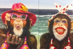 Part of the monkey series from Lance Rodgers http://www.lancerodgersart.com called Beach Monkeys