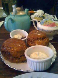 Alice's Teacup - poached eggs benedict on cheese scones with hollandaise, pumpkin scones with clotted cream and jam, and steak fillet salad with tea-infused hard boiled eggs
