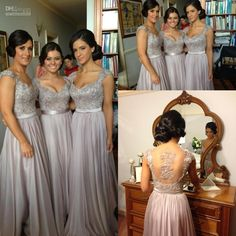 Wholesale Bridesmaid Dress Form - Buy 2014 New Arrival Bridesmaid Dresses Formal Gown With A-line Sweet-heart Capped Sleeve Hollow Lace Back Ruffled Full Length Chiffon, $93.2 | DHgate