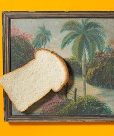 White Bread as Painting Cleaner    To clean an oil painting, softly rub a piece of white bread over it to remove dust or dirt.