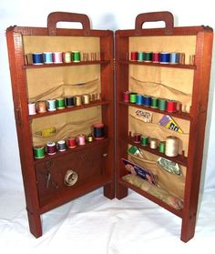 ButtonArtMuseum.com   Vintage Sewing Hinged Cabinet Box Full Notions Needle  Thread Scissors Sewing Box
