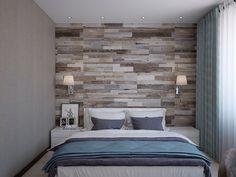 Дизайн спальни, ламинат на стене, текстиль цвета бирюзы.