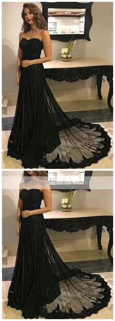 Sweetheart Black Lace A line Long Evening Prom Dresses, 17506