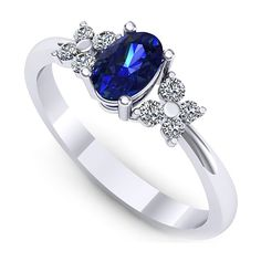 Inel logodna L130ASF cu safir si diamante