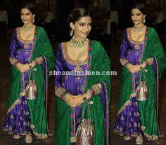 Sonam Kapoor in anarkali salwar at Shahid Mira wedding reception