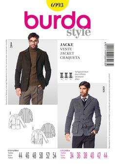 Burda Mens Sewing Pattern 6993 - Classic & Sporty Jackets Sizes: 44-54…