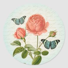 Roses floral vintage girly sticker with beautiful butterfly and rose flower. More floral vintage stickers in my store Beautiful Vintage. This design is a digital collage made from vintage images. Size: inch (sheet of Gender: unisex. Rainbow Butterfly, Butterfly Flowers, Beautiful Butterflies, Vintage Roses, Vintage Floral, Collage Making, Decorated Water Bottles, Round Stickers, Vintage Images