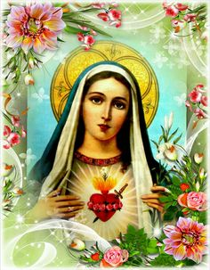 Immaculate Heart of Mary Blessed Mother Mary, Divine Mother, Mother Goddess, Blessed Virgin Mary, Catholic Art, Catholic Saints, Religious Art, Madonna, Mexico Tattoo