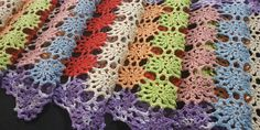 """67"""" Handmade Crochet Colored Table Runner, Vintage 80s Large Tablecloths, Doily Patterns, Cotton Thread, Table Runners, Purple, Pink, Cross Stitch, Colours, Crochet"""