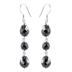 6 MM, 21 CT ROUND AND DROP SHAPE BLACK DIAMONDS EARRINGS Black Diamond Earrings, Silver Earrings, Drop Earrings, Colored Diamonds, Black Diamonds, Round Beads, Bridesmaid Gifts, Anniversary Gifts, 925 Silver