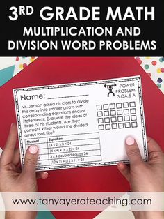 This 3rd grade math resource includes quality word problems for 3.OA.5- 3rd grade properties of multiplication and division. Use these 3rd grade math questions for 3rd grade test prep, 3rd grade math review, 3rd grade morning work, and 3rd grade math practice. These 3rd grade math word problems are just what you need! These cards come in print form and digital form for distance learning and homeschooling! Properties Of Multiplication, Multiplication And Division, Math Questions, Math Word Problems, Math Practices, School Daze, Digital Form, 3rd Grade Math, Morning Work