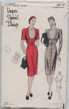 Vogue Special Designer S-4533; ca. 1944; One Piece Dress. Gilet included. | vintage patterns wiki