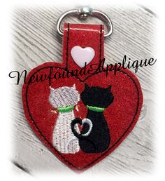 Newfound Applique  - In The Hoop Loveable Cat Key Fob Embroidery Machine Design, $2.99 (http://www.newfoundapplique.com/in-the-hoop-loveable-cat-key-fob-embroidery-machine-design/)