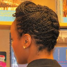 Two strand twist with chunky flat twist in the back and a bump in the front