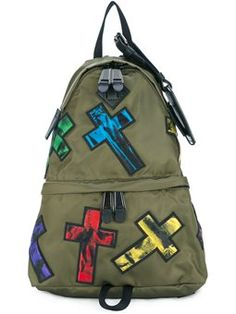 4e2f9aeb2d17 patch applique backpack Green Backpacks, Colorful Backpacks, Khaki Green,  Shopping Websites, Moschino
