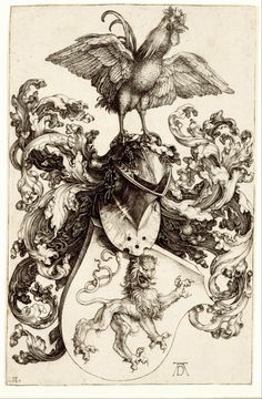 Albrecht Dürer - Coat of Arms with a Lion and a Cock 1502/1503 Engraving   w11.6 x h18.3 cm (sheet)
