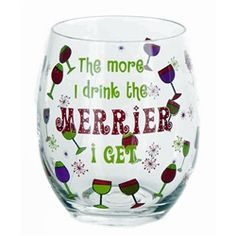 The More I Drink The Merrier I Get Stemless Wine Glass - Christmas Wine Glasses